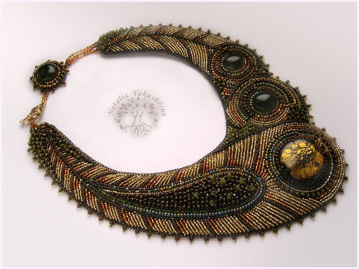 схема пера павлина из бисера