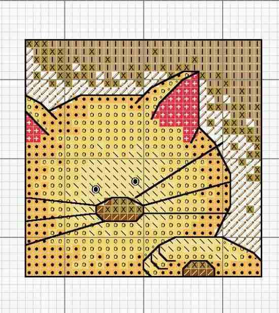 Схема вышивки кота.