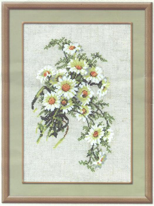 В набор входит: цветная схема, ткань-канва,цветные нитки, игла для вышивания.