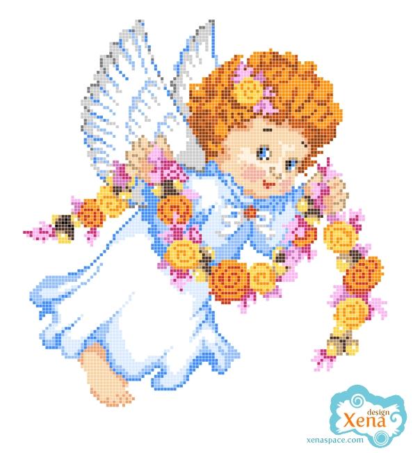 Схема вышивки крестом ангелочка с гирляндой цветов.  Состоит из 20 цветов.  По ссылке можно найти цветную схему...
