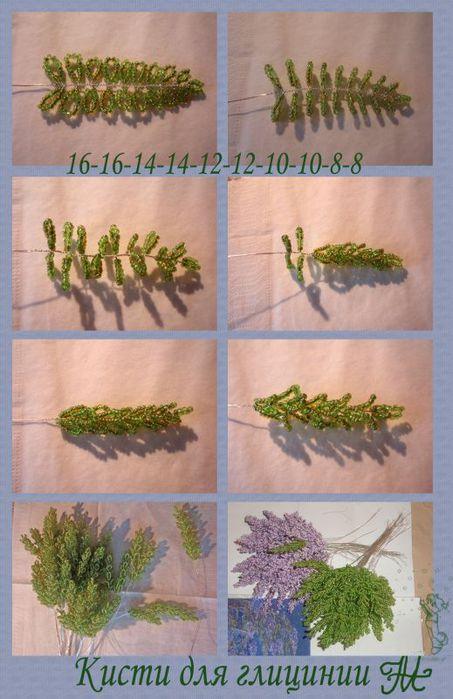 На катушку нанизывается бисер, и плетутся зеленые кисти по схеме.  Нужно сплести около 70-80 зеленых кистей.