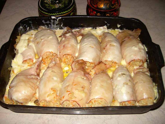 Рецепт кальмаров фаршированных в духовке