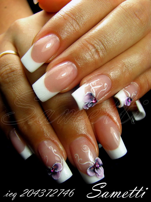 Дизайн ногтей френч с акриловыми красками
