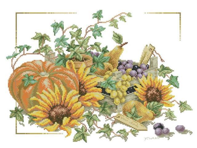 Описание: Схема для вышивки крестом - Lanarte 34298 Pumpkin and Sunflowers в формате xsd.