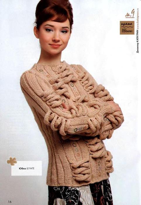 Вязание оригинального свитера спицами 581