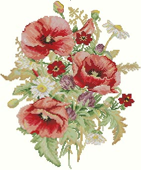 Bouquet with Poppies.  Маки. aida 14, Antique White.  14 Count. vodomilka.