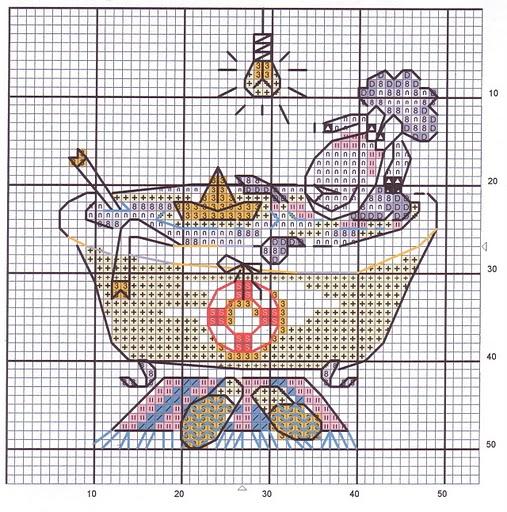 Схема вышивки крестом для ванной и туалета 97