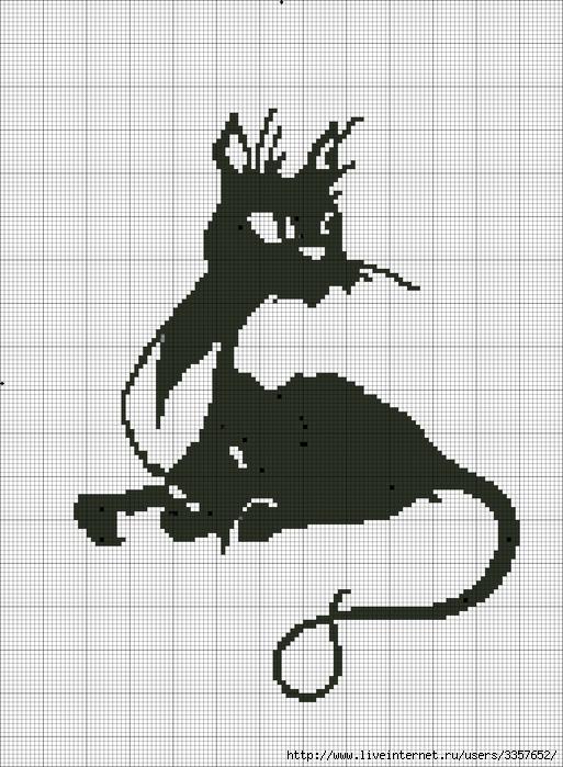 Черно-белые схемы для вышивки крестом кошки схемы