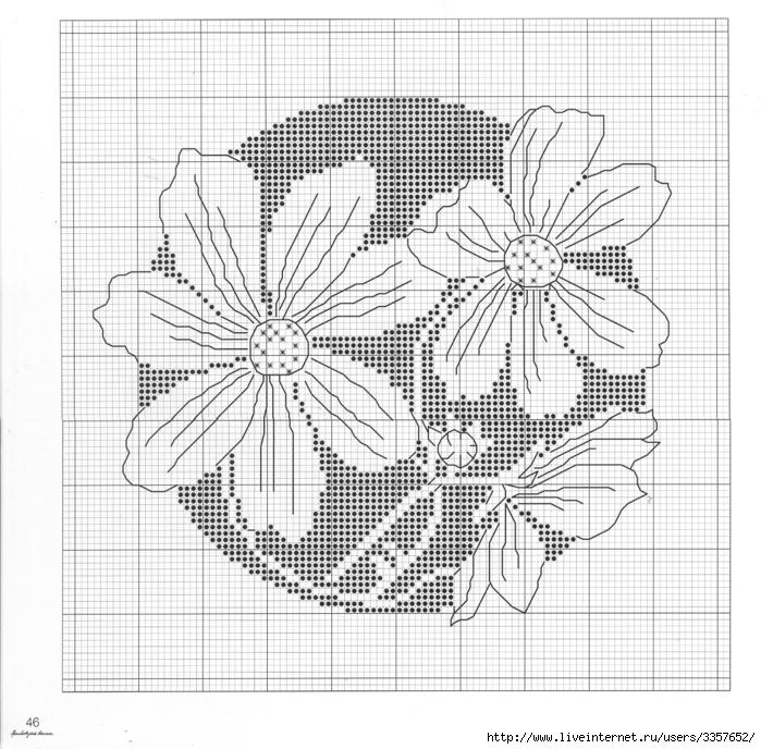 Чёрно белые цветы вышивка 23