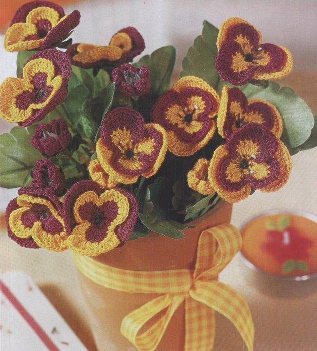 Картинки вязаные цветы 1