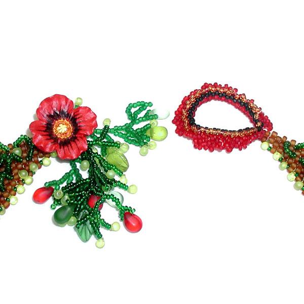 Маки из бисера ожерелье из бисера