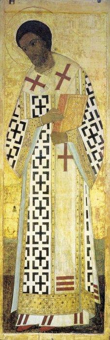 Иоанн Златоуст, 1408.  Цикл икон деисусного чина иконостаса Успенского собора во Владимире.