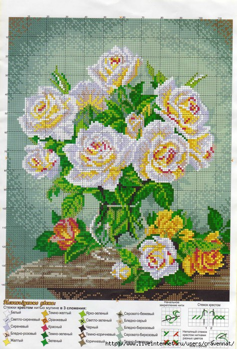 Схема вышиваем крестиком картины цветы
