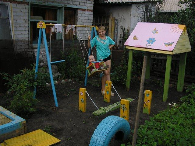Детские площадки своими руками из подручных средств 23