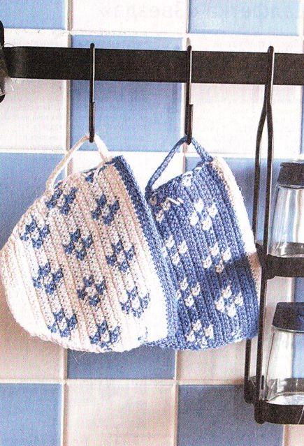 Чашки Для любительниц вязания крючком.  Милые прихватки для украшения вашей кухни в виде чашек.