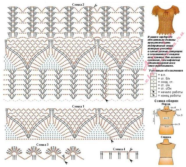 Вязание крючком ажурные топы схемы