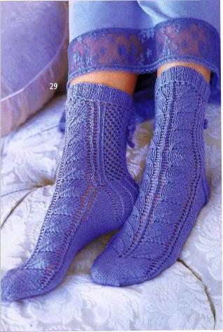 вязание ажурные носки схемы.