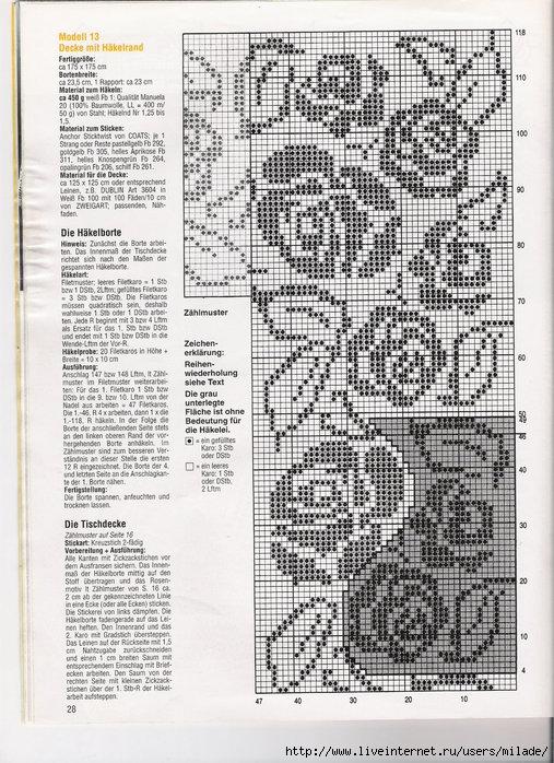 Все схемы филейного вязания роз крючком