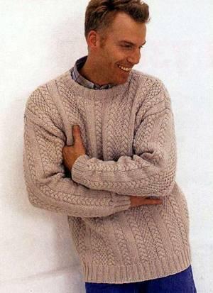 Мужской джемпер - описание и схема для вязания: на спицах вязание спицами пуловеры мужской пуловер вязание пуловер...