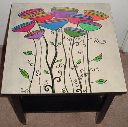 Рисунок акриловыми красками на мебели
