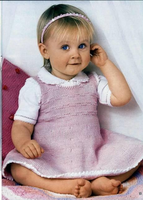 Детские шапки - схемы вязания своими руками...  Симпатичный детский сарафанчик нежно-розового цвета...