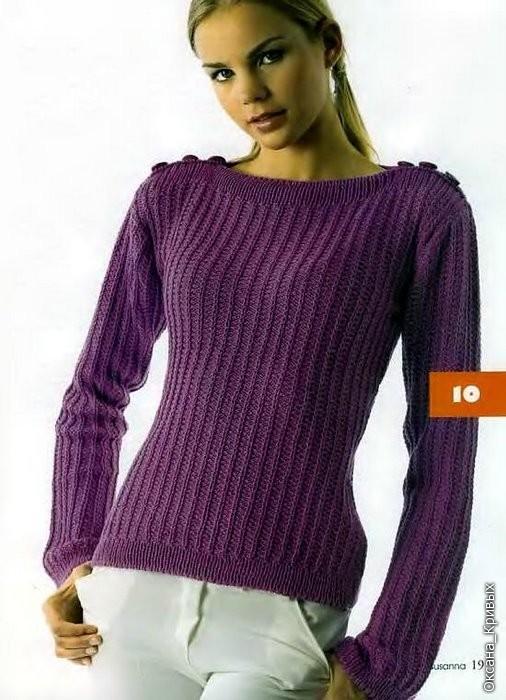 Связать свитер женский спицами молодежный видео