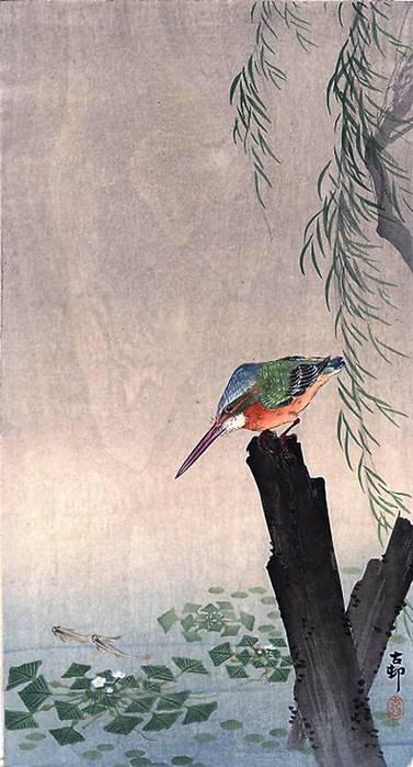 птица на дереве.  Японская живопись.