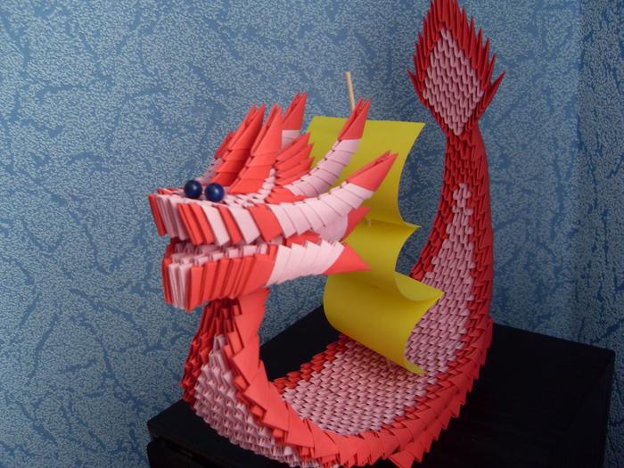 модульное оригами схема лодки дракона