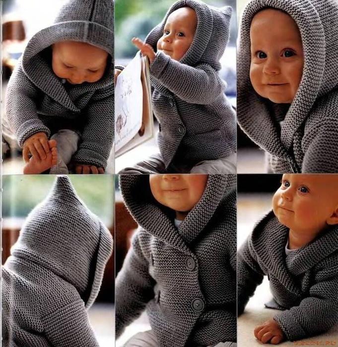 вязать малышу кофту с капюшоном