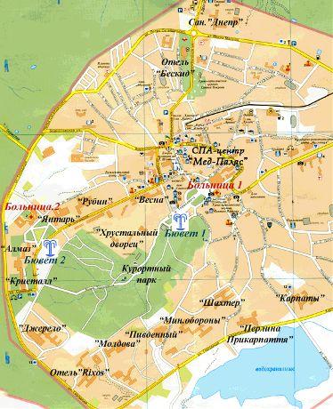 Карта курорта Трускавец.