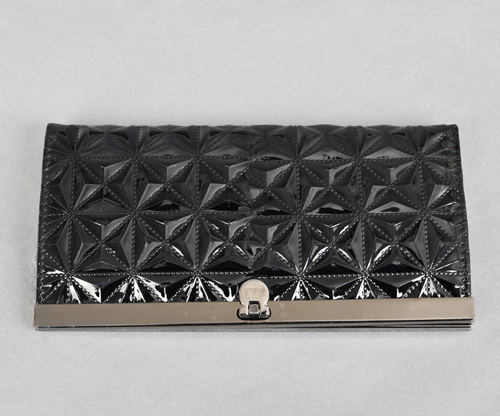 wholesale Grommet Embossed Lozenge Leather Wallet Black.