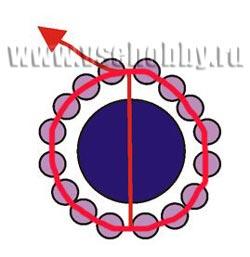 схема плетения кулона из бусин и бисера в форме.