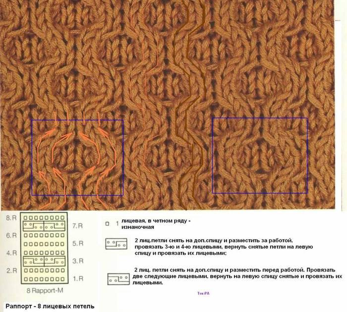 Варежки на двух спицах схема вязания