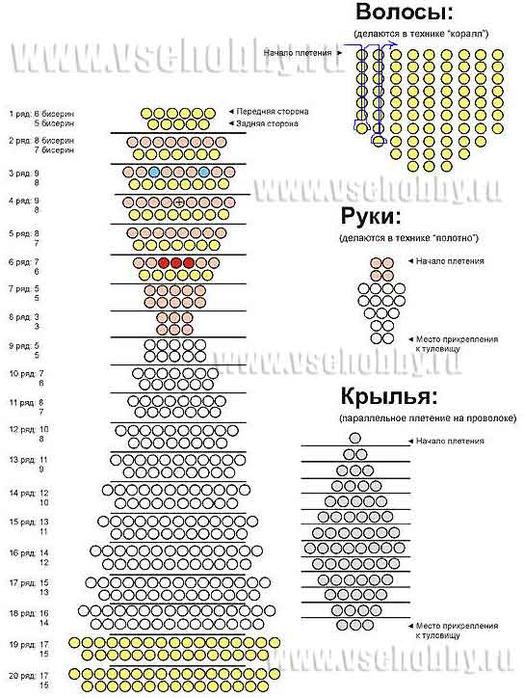 Схемы объемных животных из бисера