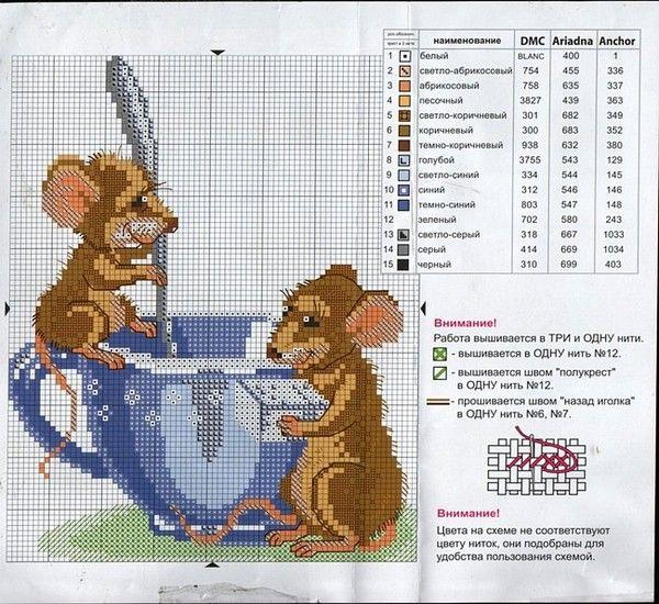 Мышь схемы вышивки