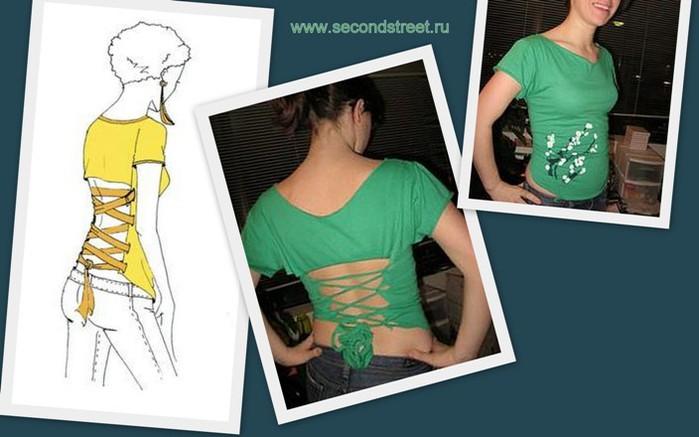 Теги. ссылка. блог по креативной переделке одежды.  Переделка футболки.
