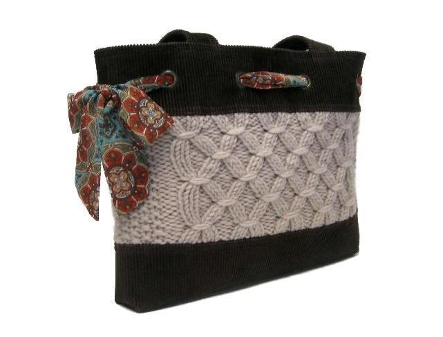 сумка с вязанными элементами