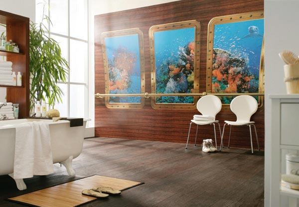 """Фотообои в интерьере ванной: Komar  """"Atlantis """" 8-888."""