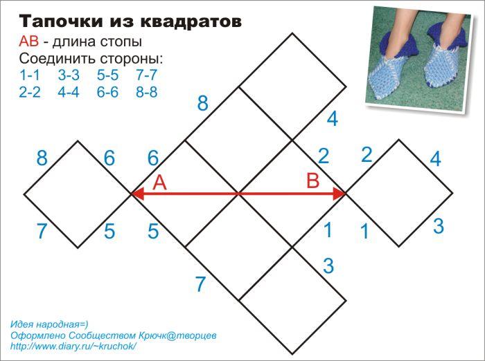 Вязание крючком тапочек из квадратов схемы описание 81