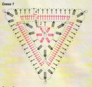 1-й р.: присоединить нить к возд.п.1-го угла треугольника, заменить 1-й ст. с/н на 3 возд. .п, затем вязать в...