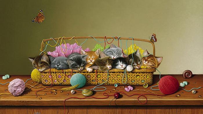 """Кошки смотрят на нас сверху вниз.  И лишь свиньи обращаются...   """"Коты не спрашивают, они просто берут все..."""