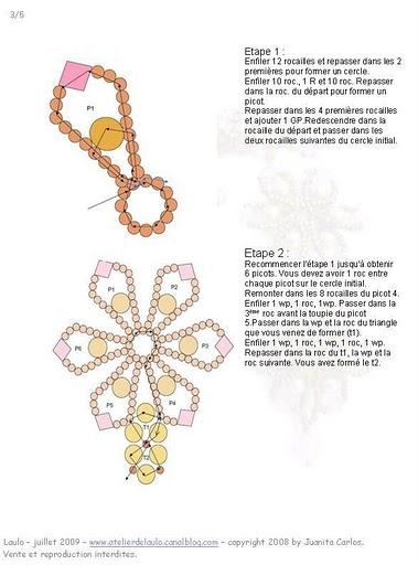 схема браслета цветочками.