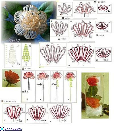 Мастер-класс по плетению цветка хризантемы из бисера со схемами и фото.