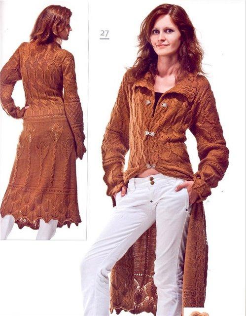 вязание спицами и крючком пальто.