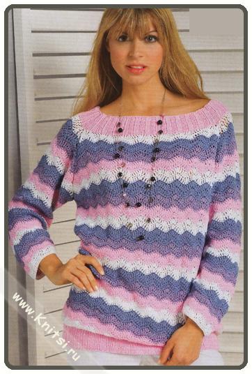 Модный ажурный пуловер из зигзагов спицами.  Вам потребуется: 200 г розовой пряжи Elastico (96% хлопка, 4% полиэстера...