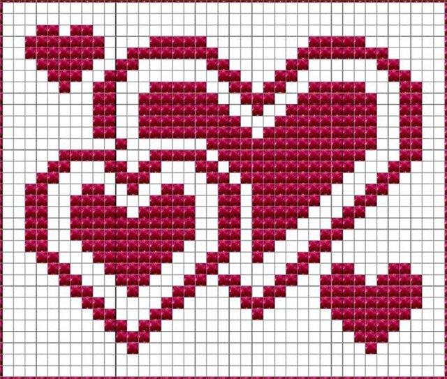 Вязаная салфетка (прихватка) ко Дню Влюбленных.  Подарок на День Святого Валентина.  Красным цветом на схеме...