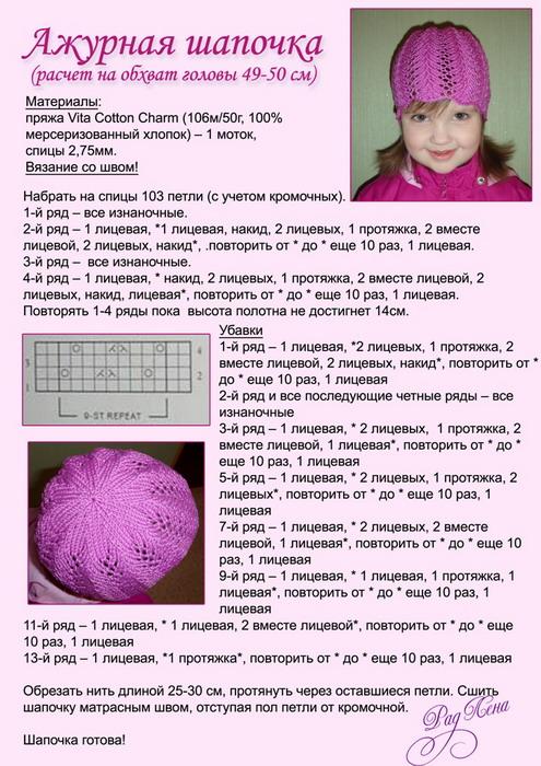 Как связать девочке летнюю шапочку спицами для девочки