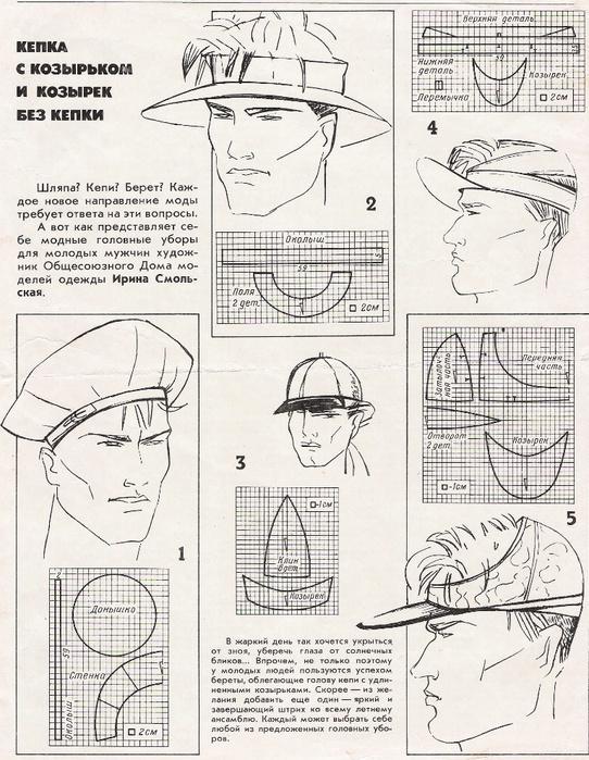 Сшить мужской головной убор своими руками