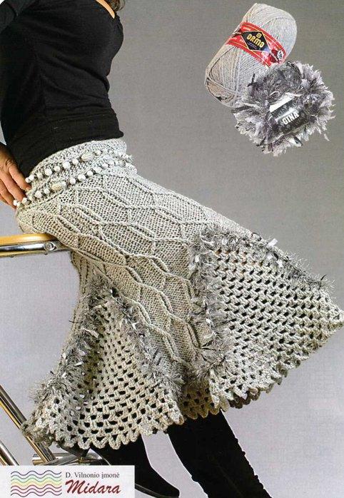 Спицы крючок костюмы двойки юбки