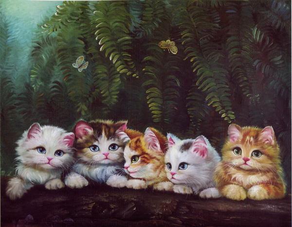 Котята картины китайских художников